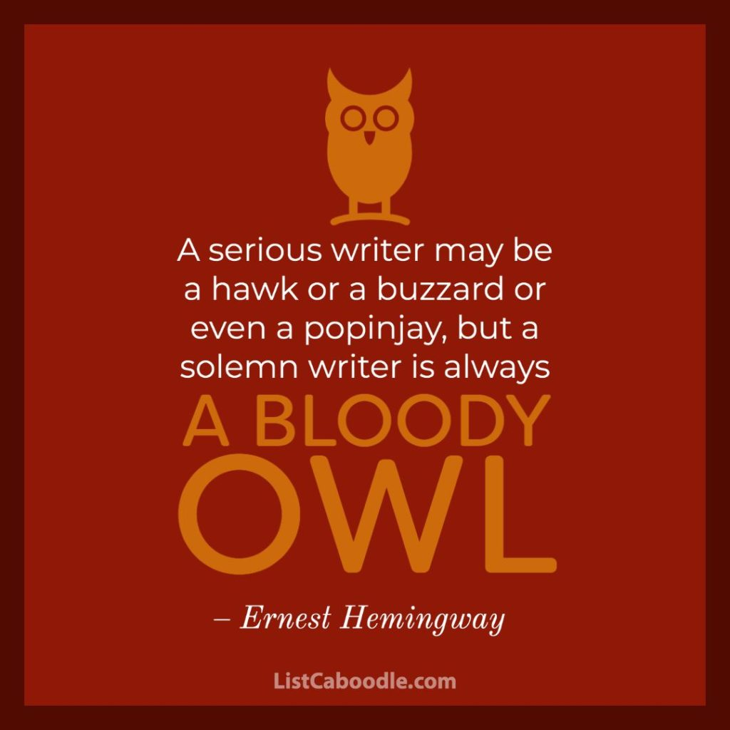 Ernest Hemingway Owl Quote
